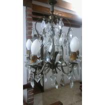 Lámpara Colgante Antigua Con Caireles De Vidrio Excelente!!!