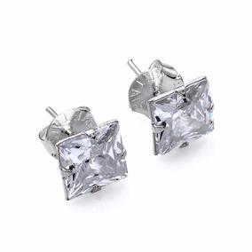 Par Brinco Masculino Prata Pura 925 Diamante Sintético 8 Mm