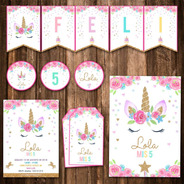 Kit Unicornio Candy Bar Completo Impreso! Invitaciones Y Mas