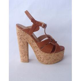 Zapatos Sueco Camel Cuero Ecológico Con Plataforma Dama