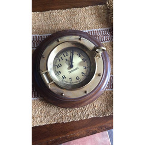 Reloj Ojo De Buey Para Pared Madera Y Bronce