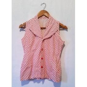 Camisa Blanca De Puntos Rojos Para Dama