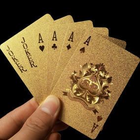Jogo De Baralho De Luxo Dourado - Banhado A Ouro - Poker Top