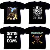 Camiseta Banda Rock Guns N Roses System Of Down Iron Maiden