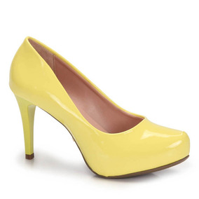 Sapato Salto Fino Lara Verniz - Amarelo