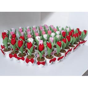 25 Vasinho Com Tulipa Em Tecido ( Casamento Lembrancinha )