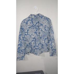 Chaqueta Mujer Delgada Azul Con Diseños Blancos