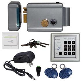Kit Control De Acceso Chapa Electrica Izq 10 Llaveros, Botón