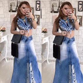Saia Longa Jeans Destroyed Rasgada