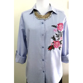Camisa De Mangas Largas Bordada, S - Xl