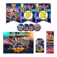 Kit Toy Story 4 Invitaciones Banderin Stickers Para 30