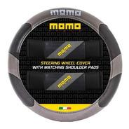 Cubre Volante Momo 005 Negro Y Gris + Cubre Cinturon