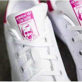Tenis adidas Stan Smith Piel / Blanco C/ Rosa #22 Mx + Caja.