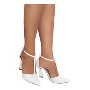 Sapato Scarpin Branco Noiva Salto Alto Taça Grosso