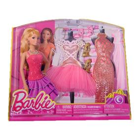 Set De Ropa Vestidos Rosa Y Accesorios Barbie Life Fashion