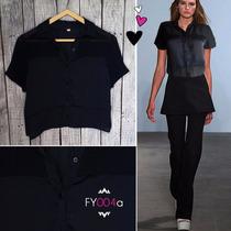 Camisa Negra Raso Combinada Con Gasa, Talle 1, Cod Fy004a