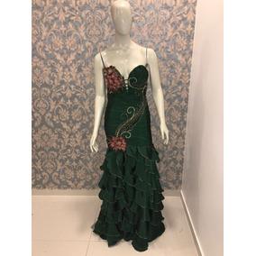 Vestido Sereia Vede Musgo Tafetá Formanda Cs-502