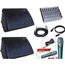 Kit Caixa Ativa Passiva 15 1400rms Mesa De Som 2 Microfones