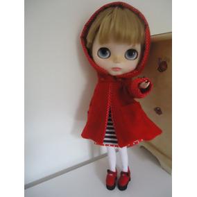 Casaco Vermelho Com Capuz Para Boneca Blythe