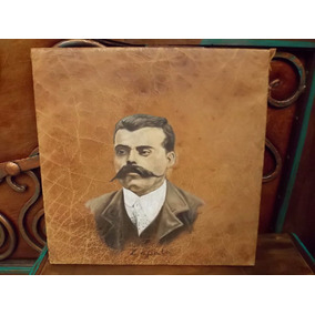 Hermosa Pintura Oleo Sobre Piel Antigua. Emiliano Zapata.