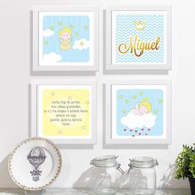Conjunto 4 Quadros Quarto Infantil Anjinhos Oração Nome Bebê
