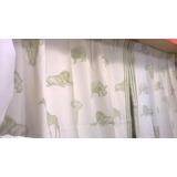 cortina estampado animales tela panama x m infantil