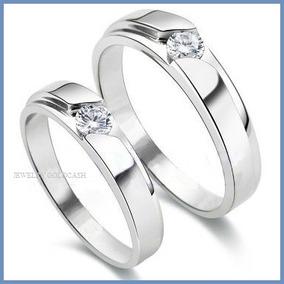 Argollas De Matrimonio Mod. Prince En Oro Blanco 14k Solido