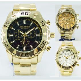 Relógio Masculino Atlantis Original Dourado Grande + Caixa