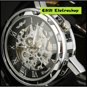 Relógio Winner Automático De Luxo Pulseira Em Couro