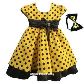 Vestido Festa Infantil Abelha Abelhinha Com Tiara Promoção