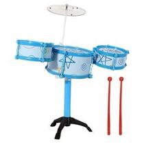 Bateria Infantil Mirim Musical Com 3 Tambores Rosa Ou Azul