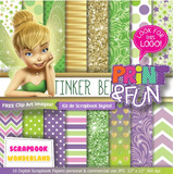 Kit Imprimible Tinkerbell Campanita Fondos Digitales Clipart