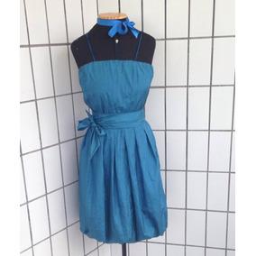 Vestido Tafeta Azul Royal Classico Balone Festa Brilhoso
