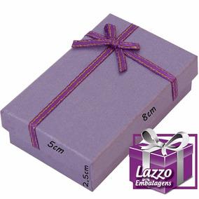 Caixa Para Presente Porta Joias Lilás Com Fita Cetim 5x8cm