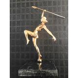 Escultura En Bronce Dorado Mujer Con Lanza Art Decò-
