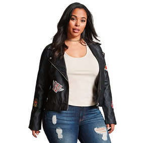 Campera Ecocuero Moto Jacket Parches Forever 21 Talle 2x 3x