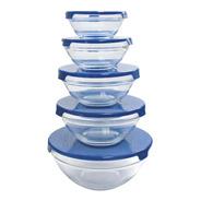 Set X 5 Bowls Recipientes Vidrio Herméticos Microondas