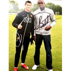 Autógrafo Original : Cristiano Ronaldo E Usain Bolt O Raio