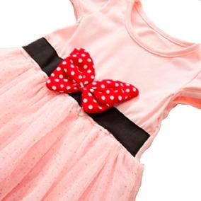 Vestido Infantil Festa Importado Minnie Com Saia Em Tule Ros