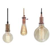 3 Porta Lamparas + Lamparas Filamento + Cable Textil Vintage Enviogratis
