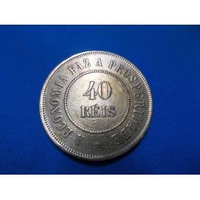 Moeda De 40 Reis Bronze 1910, Escassa, Linda. Soberba.