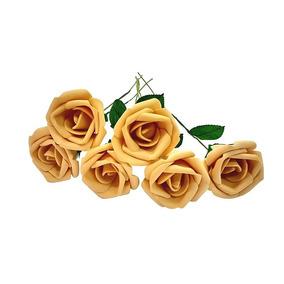12 Rosas Artificiais Bege Flor Eva Artificial Decoração