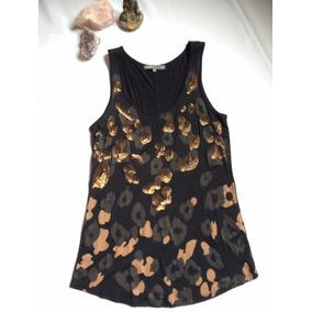 Polera Negra Basement Animal Print Y Lentejuelas Bronce T/m
