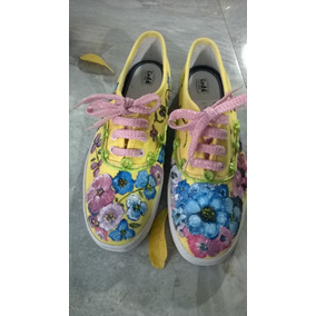 Zapatos Pintados A Mano. T 37. Unicos Disponible