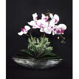 Arranjo Grande Orquideas Silicone Artificiais Vaso Cerâmica