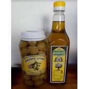 Aceite De Oliva Extra Virgen 1/2 Litro + Pote De Aceitunas