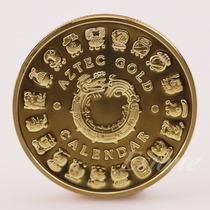 Moeda Dourada Calendário Maia Ou Asteca (((banhada A Ouro)))