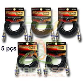 Kit 5 Cabos Microfone/dmx - Xlr/canon Balanceado 3/5 Metros