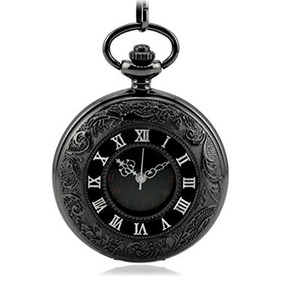 Wzc Antiguo Doble Negro Pantalla De Cuarzo Reloj De Bolsill