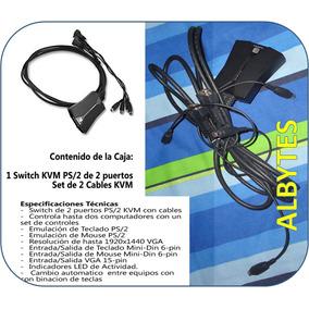 Remate Suitch Kvm 2 Puertos Con Cables Vga Ps2 Conecte 2 Cpu
